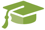 green graduation cap symbol